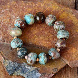 Handmade round bead natural stone bracelet Jasper